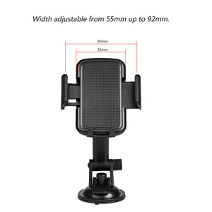 Universal Dashboard, Windshield Phone Car Mount Phone Holder With Adjustable Extension Arm - Black