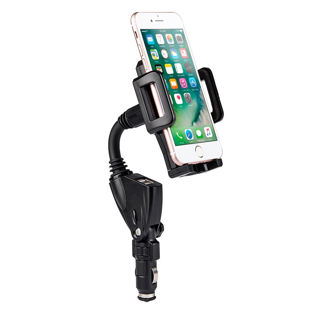 Universal Cigarette Lighter Adapter Dual USB Car Charger & Cell Phone Mount Holder - Black