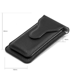 Universal Vertical Dual Phone Holder Leather Pouch - Black