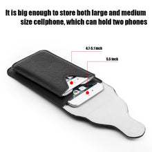 Load image into Gallery viewer, Universal Vertical Dual Phone Holder Leather Pouch - Black
