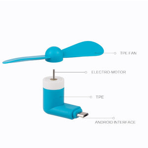 Micro USB Compatible Devices Mini Cooler Fan - Blue