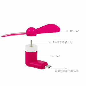 Micro USB Compatible Devices Mini Cooler Fan - Pink