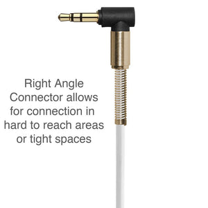 3.5mm Right Angle Stereo Auxiliary Cable 3 ft. - White