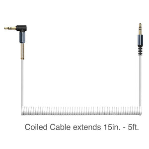 3.5mm Right Angle Coiled Stereo Auxiliary Cable 5 ft. - White
