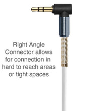 Load image into Gallery viewer, 3.5mm Right Angle Coiled Stereo Auxiliary Cable 5 ft. - White