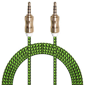 3ft. Audio AUX Cable Feet 3.5mm AUX Jack Tangled Free Braided Sleeve Jacket Stereo Auxiliary Aux Audio Stereo Cable - Black/ Green