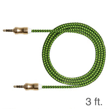 Load image into Gallery viewer, 3ft. Audio AUX Cable Feet 3.5mm AUX Jack Tangled Free Braided Sleeve Jacket Stereo Auxiliary Aux Audio Stereo Cable - Black/ Green