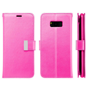 Leather Flip Wallet With Credit Card Compartment Case - Hot Pink for Samsung Galaxy S8