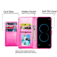 Load image into Gallery viewer, Leather Flip Wallet With Credit Card Compartment Case - Hot Pink for Samsung Galaxy S8