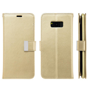 Leather Flip Wallet With Credit Card Compartment Case - Gold for Samsung Galaxy S8 Plus
