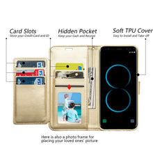 Load image into Gallery viewer, Leather Flip Wallet With Credit Card Compartment Case - Gold for Samsung Galaxy S8 Plus