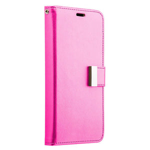 Leather Flip Wallet With Credit Card Compartment Case - Hot Pink for Samsung Galaxy S8 Plus