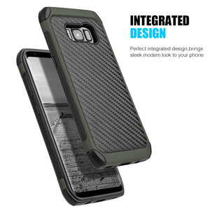 Hybrid Carbon Case with Carbon Fibre Design And Reinforced Hard Bumper - Black/ Army Green for Samsung Galaxy S8