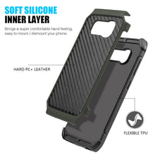 Load image into Gallery viewer, Hybrid Carbon Case with Carbon Fibre Design And Reinforced Hard Bumper - Black/ Army Green for Samsung Galaxy S8