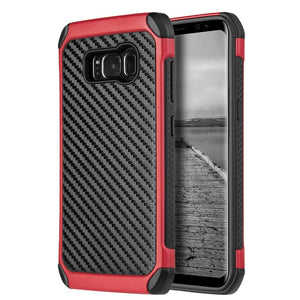Hybrid Carbon Case with Carbon Fibre Design And Reinforced Hard Bumper - Black/ Red for Samsung Galaxy S8