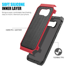 Load image into Gallery viewer, Hybrid Carbon Case with Carbon Fibre Design And Reinforced Hard Bumper - Black/ Red for Samsung Galaxy S8