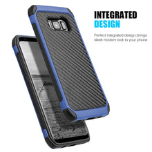 Load image into Gallery viewer, Hybrid Carbon Case with Carbon Fibre Design And Reinforced Hard Bumper - Black/ Blue for Samsung Galaxy S8 Plus