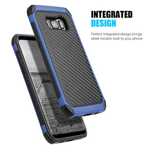 Hybrid Carbon Case with Carbon Fibre Design And Reinforced Hard Bumper - Black/ Blue for Samsung Galaxy S8 Plus
