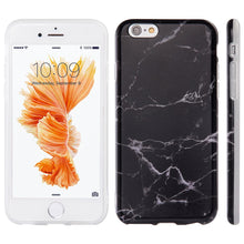 Load image into Gallery viewer, Marble Look IMD Soft TPU Protective Case - Black for iPhone 6