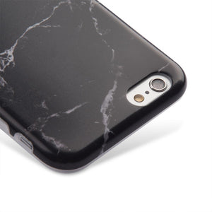 Marble IMD Soft Shockproof TPU Protective Case for iPhone 6 Plus - Black