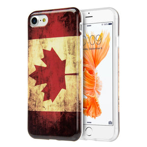 Patriotic Vintage Flag Series IMD Soft TPU Protective Case - Canada for iPhone 7, iPhone SE 2020