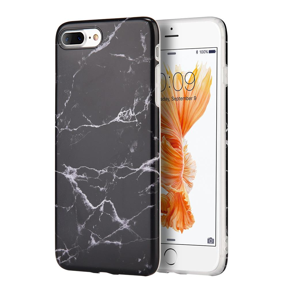 Marble IMD Soft TPU Protective Case - Black for iPhone 7 Plus