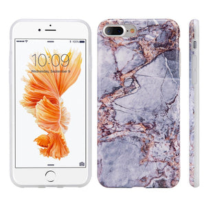 Marble IMD Soft TPU Protective Case - Grey/ Gold for iPhone 7 Plus