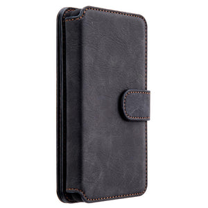 Luxury Series Flip Case with Card Slot/ Zipeer Wallet and Detatchable Back Case - Black for Samsung Galaxy S8