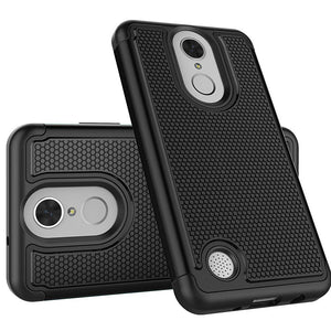 Grippy Hybrid Shockproof Protective Case for LG LV3/ Aristo/ K8 2017 / LG Aristo MS210 - Black/ Black