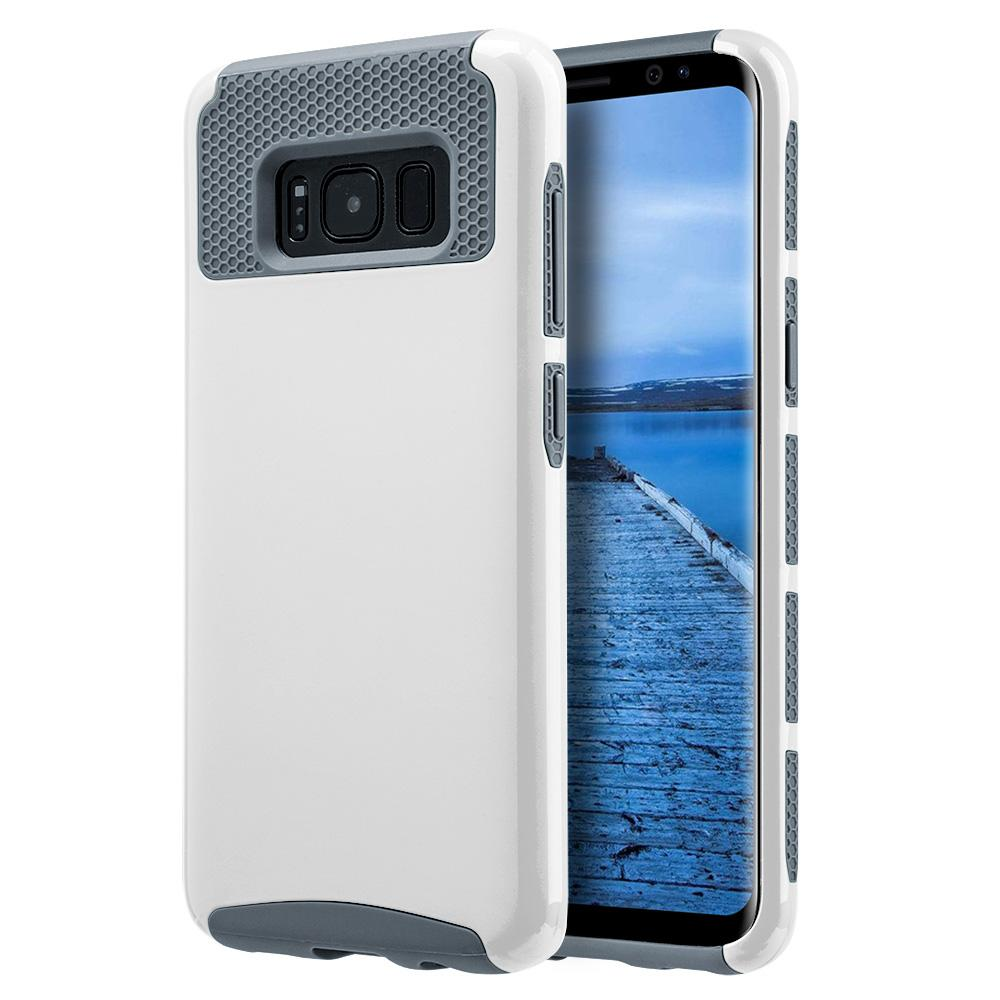 Hybrid Glossimer UV Coating Protective Case - White for Samsung Galaxy S8 Plus for Samsung Galaxy S8 Plus