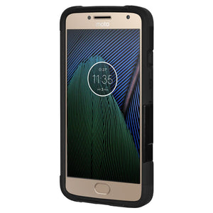 AMZER Dual Layer Hybrid KickStand Case - Black/ Black for Motorola Moto G5 Plus