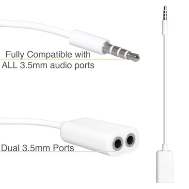 3.5mm Male to Dual 3.5mm Female Audio Splitter Cable - White