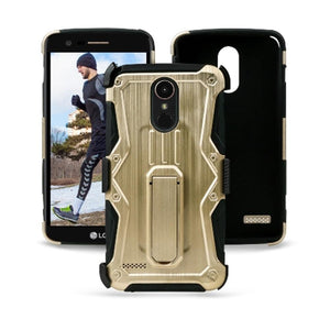 Heavy Duty Shockproof Extreme Protective Cover With Holster - Black/ Gold for LG Stylus 3/ LG Stylo 3 for LG K10 Pro LGM400DF