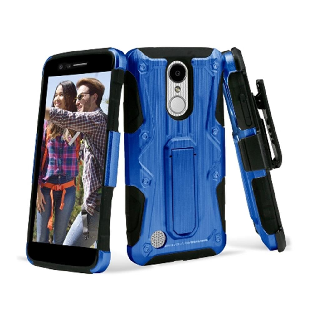 Heavy Duty Shockproof Extreme Protective Cover With Holster - Black/ Blue for LG LV3/ LG K8 2017/ LG Aristo MS210 for LG Aristo MS210