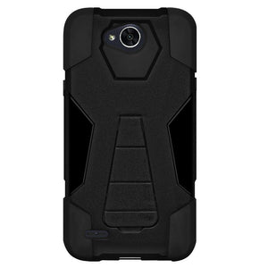 AMZER Dual Layer Hybrid KickStand Case - Black/ Black for LG K10 POWER