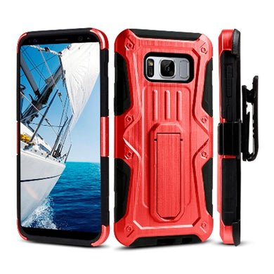 Heavy Duty Shockproof Extreme Protective Cover With Holster - Black/ Red for Samsung Galaxy S8 Plus for Samsung Galaxy S8 Plus