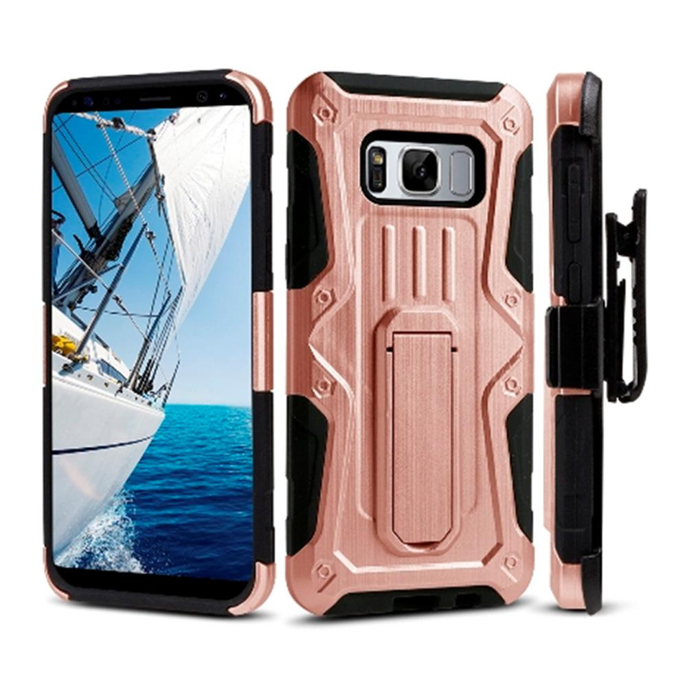 Heavy Duty Shockproof Extreme Protective Cover With Holster - Black/ Rose Gold for Samsung Galaxy S8 Plus for Samsung Galaxy S8 Plus