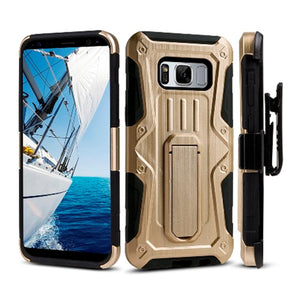 Heavy Duty Shockproof Extreme Protective Cover With Holster - Black/ Gold for Samsung Galaxy S8 Plus for Samsung Galaxy S8 Plus