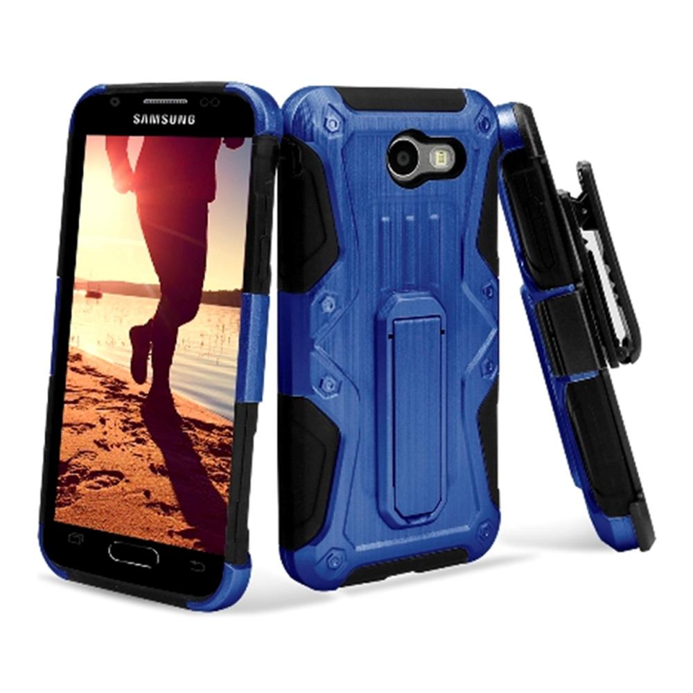 Heavy Duty Shockproof Extreme Protective Cover With Holster - Black/ Blue for Samsung Galaxy Amp Pri for Samsung Galaxy Amp Prime 2 SM-J120A