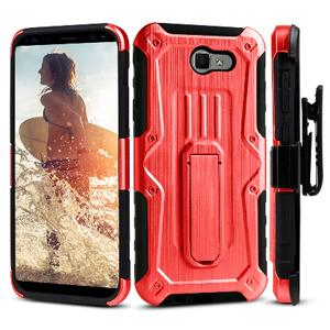 Heavy Duty Shockproof Extreme Protective Cover With Holster - Black/ Red for Samsung Galaxy J7 Perx for Samsung Galaxy Halo SM-J727A