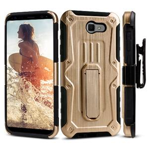 Heavy Duty Shockproof Extreme Protective Cover With Holster - Black/ Gold for Samsung Galaxy J7 Perx for Samsung Galaxy Halo SM-J727A