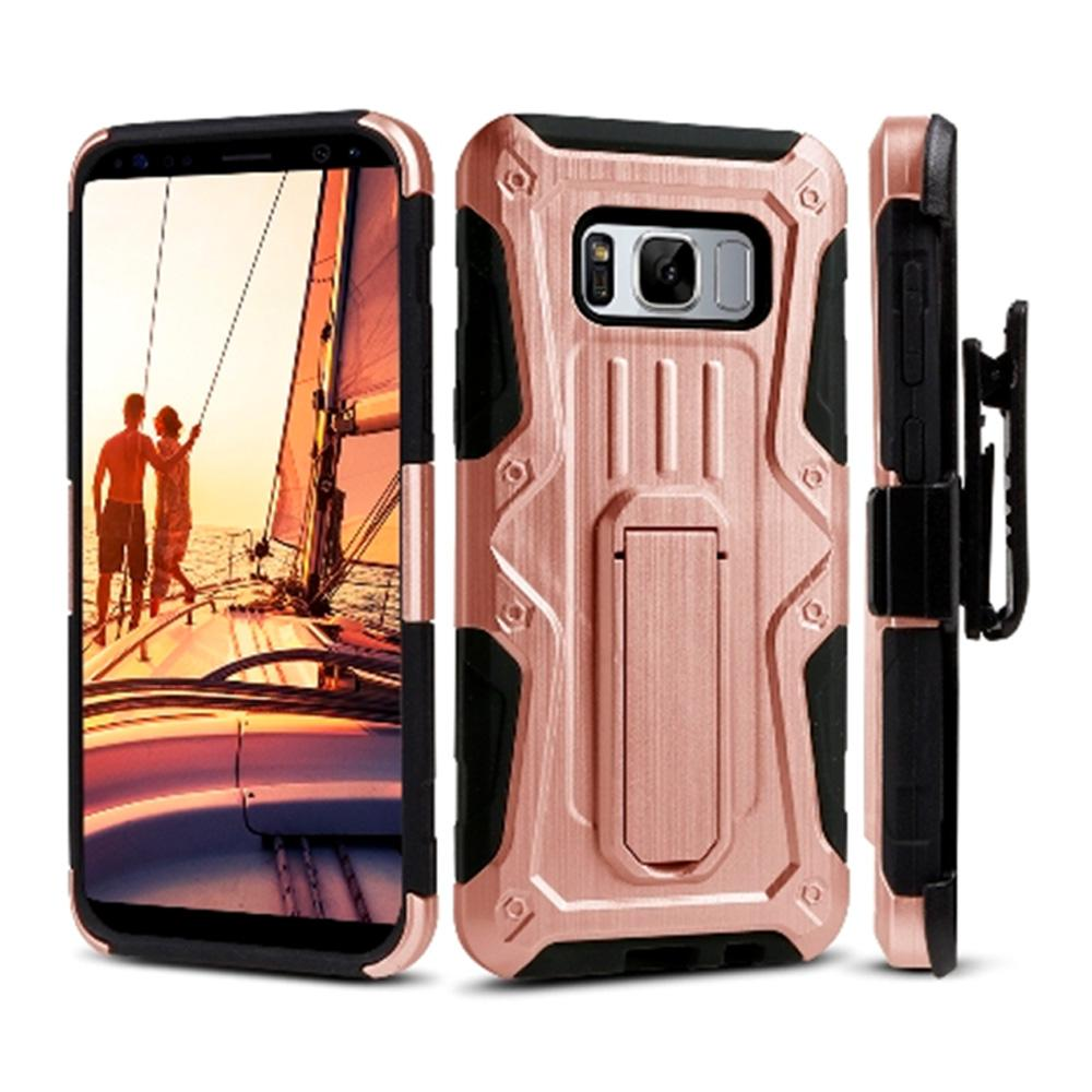 Heavy Duty Shockproof Extreme Protective Cover With Holster - Black/ Rose Gold for Samsung Galaxy S8 for Samsung Galaxy S8