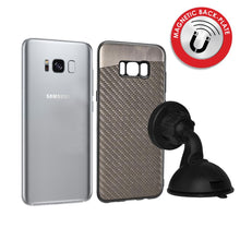 Load image into Gallery viewer, Carbon Metallic Fusion Candy TPU Case With Car Mount System - Grey for Samsung Galaxy S8