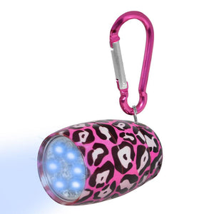Fashion Print LED Tank Light with Carabineer Clip - Pink Leopard Print