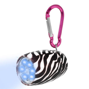 Fashion Print LED Tank Light with Carabineer Clip - Zebra Print