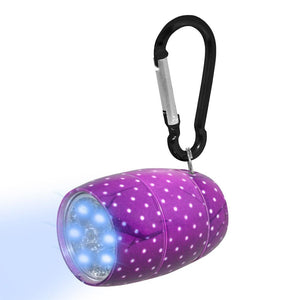 Fashion Print LED Tank Light with Carabineer Clip - Purple Polka Dot
