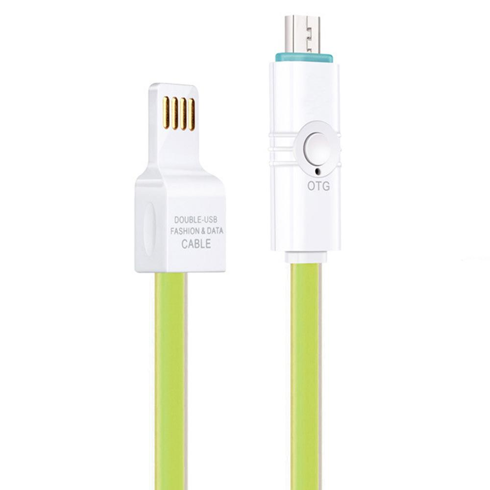 Micro USB OTG Sync Jelly Flat Charging Cable With Double Color LED Indicator (1M/3.3ft) - Green