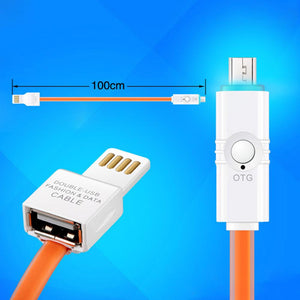 Micro USB OTG Sync Jelly Flat Charging Cable With Double Color LED Indicators (1M/3.3ft) - Orange