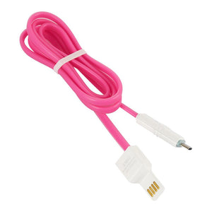 Micro USB OTG Sync Jelly Flat Charging Cable With Double Color LED Indicator (1M/3.3ft) - Pink