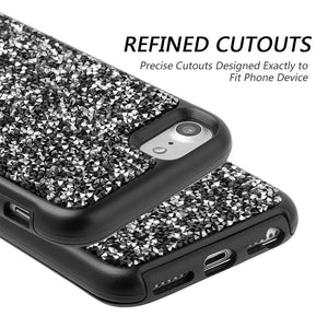 Rhinestone Diamond Platinum Collection Hybrid Bumper Case - Black for iPhone 6